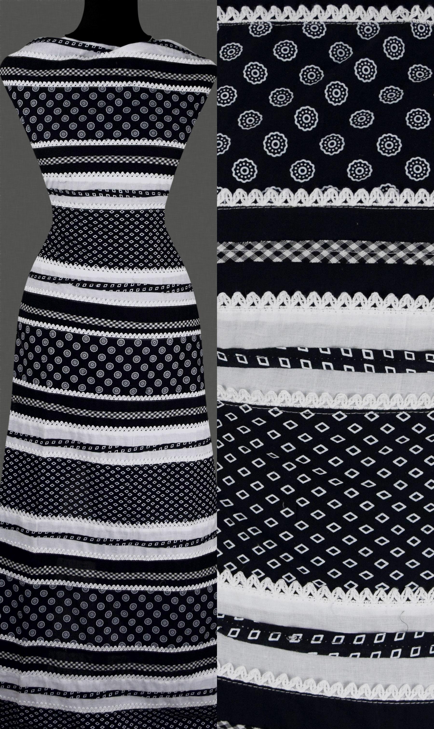 12 60 m 50cm stoff baumwolle schwarz wei gestreift streifen muster spitze ebay. Black Bedroom Furniture Sets. Home Design Ideas